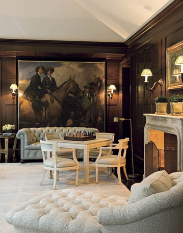 Designer William Hodgins Installed Dark Wood Paneling In His Virginia Homes Family Room A Large Equestrian Painting Pulls Our