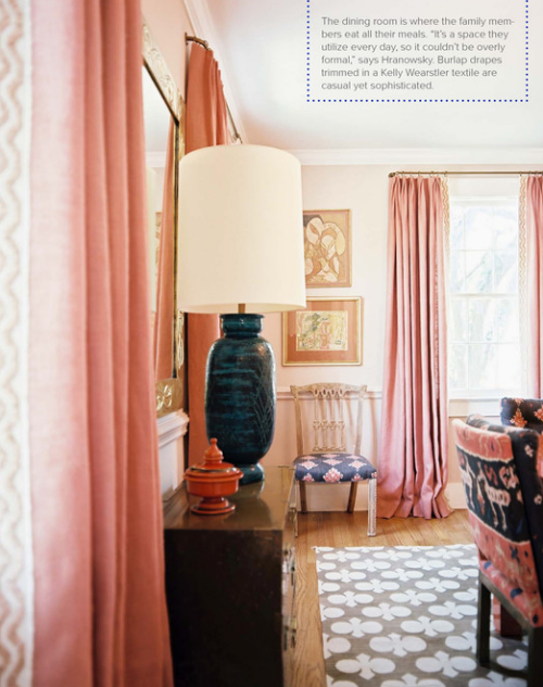 Interior designer 1940s home by angie hranowsky for Bold dining room colors