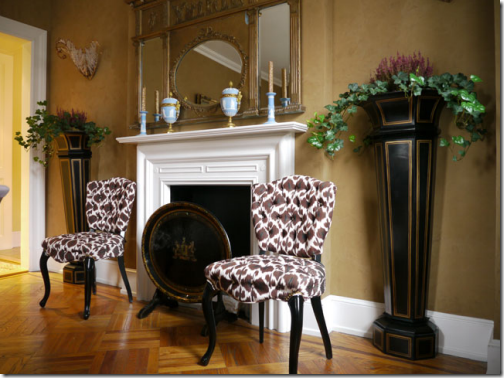 ikat tufted chairs brown white