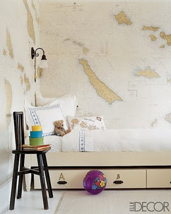 Decorating ideas using maps simplified bee for Elle decor nursery