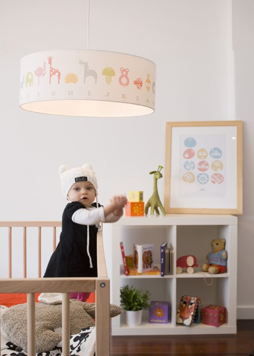 The Animal Alphabet Pendant Adds A Touch Of Whimsy To This Modern Nursery