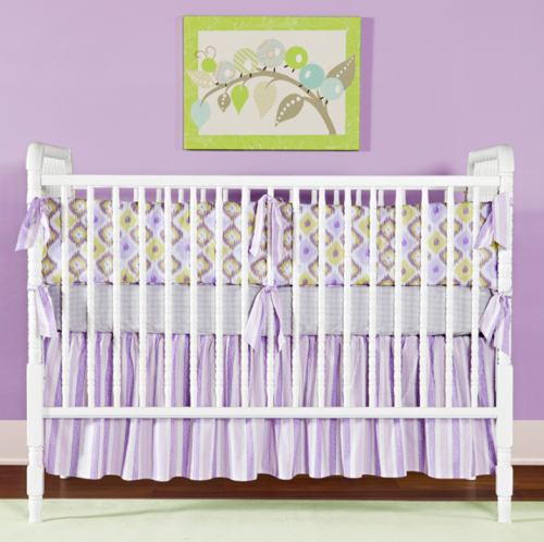 Amazing IKAT LAVENDER Three Piece Crib Set