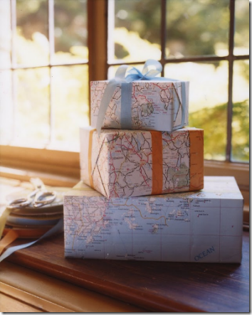 map wrapping paper presents martha stewart