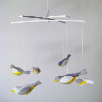 Baby bird and spring green meadow gender neutral nursery for Bird mobiles for nursery