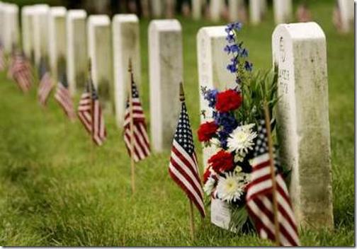 memorial day flags tombstones