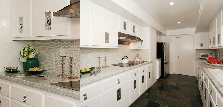 West hollywood condo by designer michelle workman for Slate kitchen floors with white cabinets
