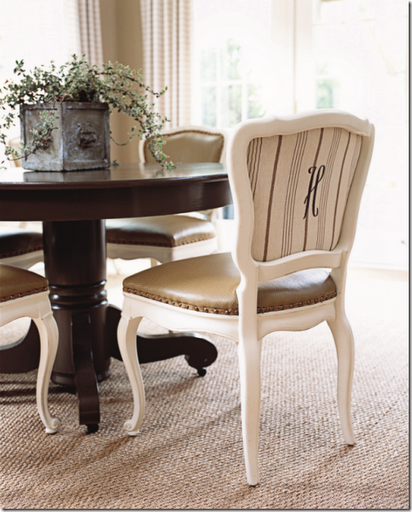 monogrammed dining chair back upholstered