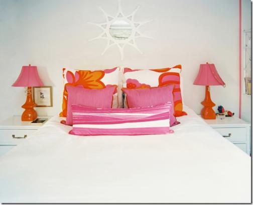 Charming Orange And Pink Girls Bedroom