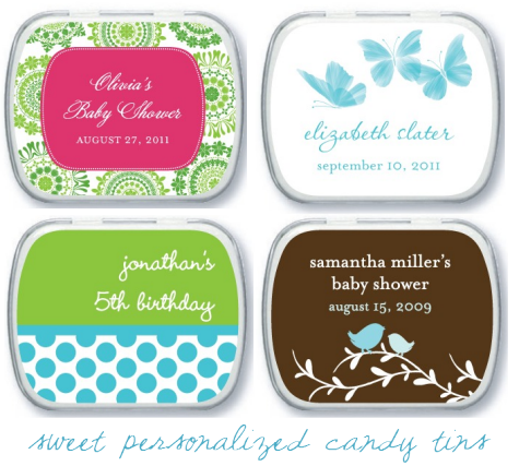 Tiny prints 50 gift card giveaway simplified bee party favor personalized candy tins negle Images