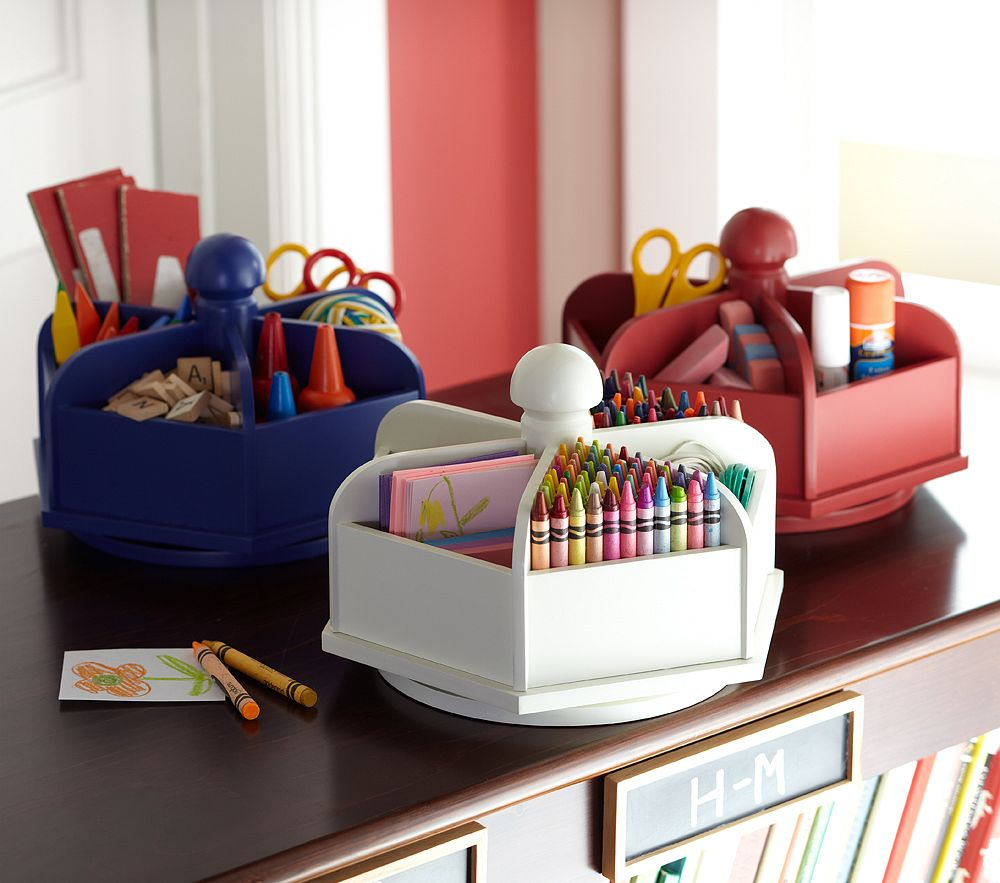 Getting organized for back to school simplified bee - Lazy susan desk organizer ...
