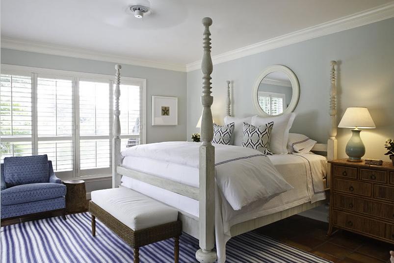 Florida based designer phoebe howard created a lovely seaside bedroom
