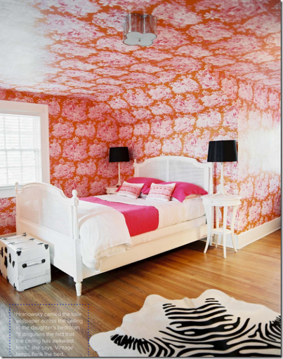 pink orange toile wallpaper girls bedroom