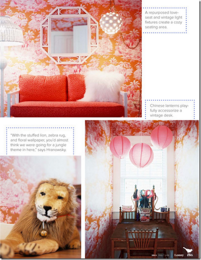 pink orange wallpapered girls bedroom