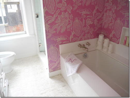 pink wallpaper bathroom amanda nisbet
