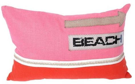 pink orange beach pillow