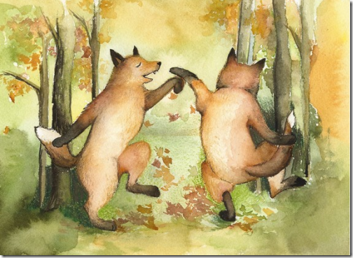 playful fox artwork watercolor orange green