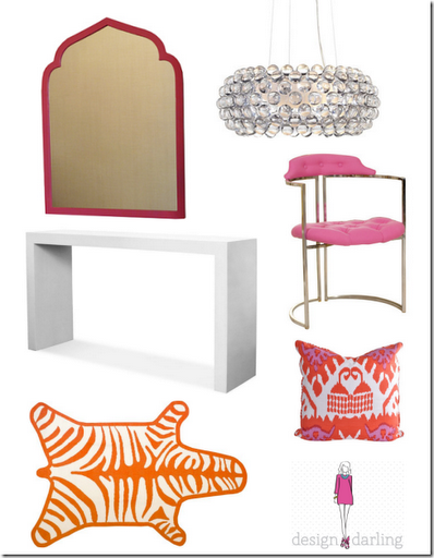 preppy orange pink foyer design darling