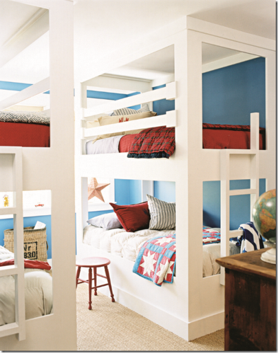 red white blue kids bunkbed bedroom