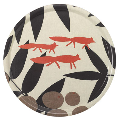 red fox round tray decor