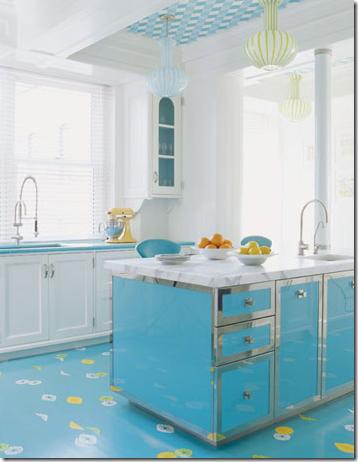 retro modern turquoise designer kitchen
