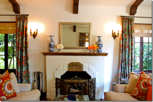 Spanish Style Home Living Room Fireplace.
