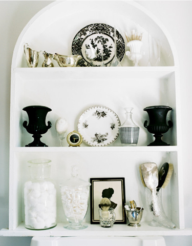 styled bathroom cabinet organization
