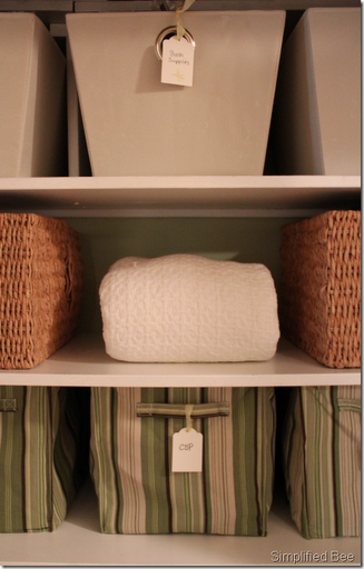 stylishly organized linen closet