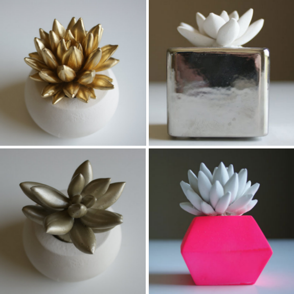 Ceramic Succulents in Gold, Silver and Neon