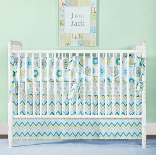 Amazing SUZANI TEAL Three Piece Crib Set