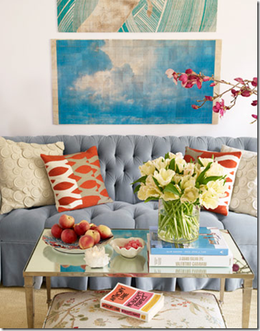 tufted blue sofa house beautiful