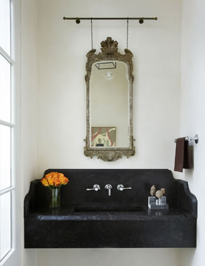 Powder Room Old Table With Stand Alone Sink