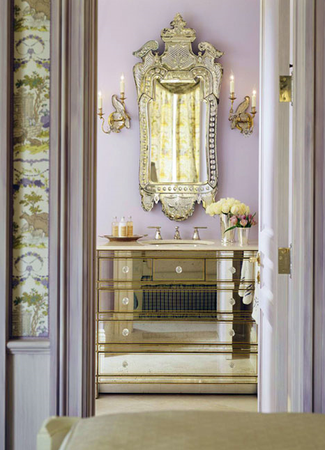 In This Opulent Guest Bath Designed By San Francisco Based Designer Kendall  Wilkinson Hangs A Stunning Venetian Mirror Above A Mirrored Vanity Sink ...