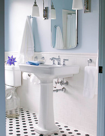 To Open Up A Smaller Bath Visually, A Simple Pedestal Sink Is A Great Option