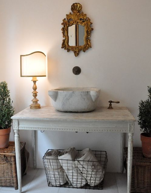 Brooke Giannetti Of Velvet U0026 Linen Designed This Romantic Powder Room In  Her Home. The Vanity Was Created From A Console Table {reproduction From  Chelsea ...