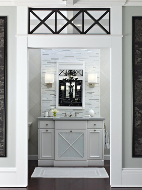In This Gorgeous Master Bath Designer Robert Young Features An Ivory Cabinet Vanity With An X Mullion Glass Front Center Door That Is Beautifully Repeated