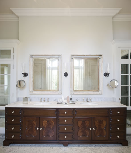 master bathroom double sink vanity. This double sink vanity is featured in a traditional master bath also  designed by Jim Howard The stately with detailed wood carving exquisite and Designer Bathrooms Vanity Sink Styles for All Tastes