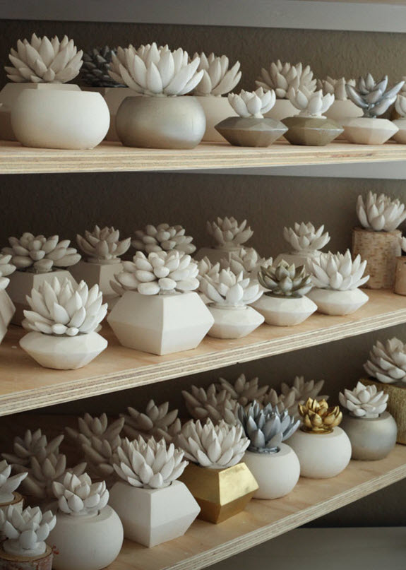 Cement Succulents by Waterstone on Etsy