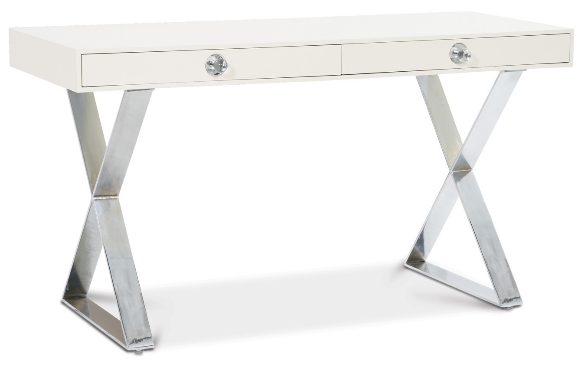 Amazing White Lacquer X Desk With Lucite Pulls