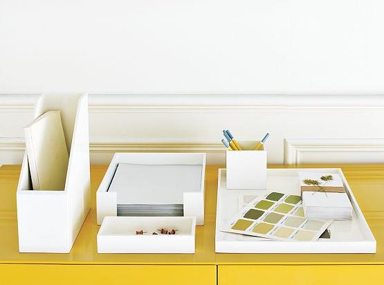 White Lacquer Desk Set Organization