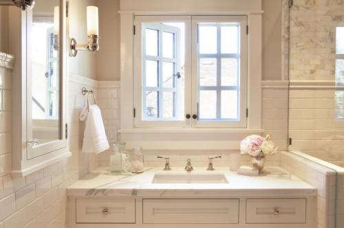 white designer bathroom sink window