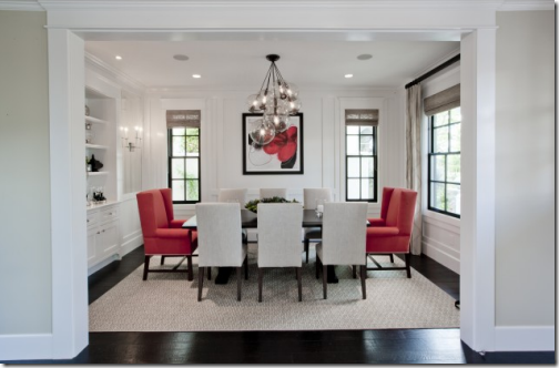 White Dining Room Red Chairs Houzz