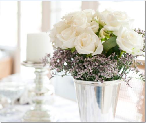 white roses in misty lavender mint julep vase