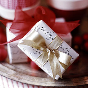 Diy inexpensive handmade gift wrap ideas simplified bee a repeated holiday phrase in a script font becomes elegant packaging for small gifts its simple inexpensive and can be easily done at home with your solutioingenieria Images