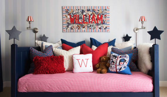 Boys Daybed in Blue and Red with Stars