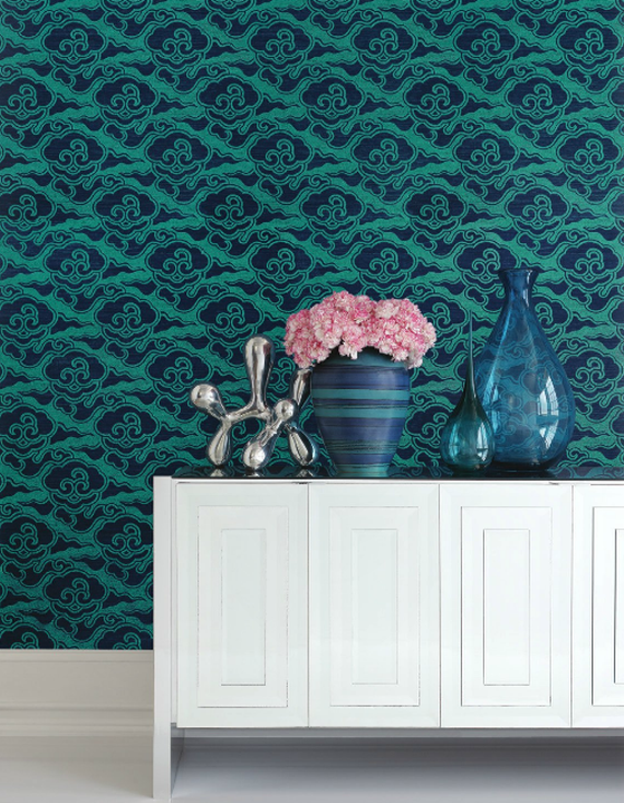 Celerie Kemble for Schumacher Wallpaper Sisal Turquoise