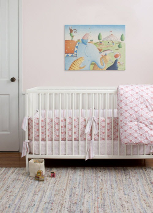 Contemporary Pink Wave Crib Bedding So Sweet