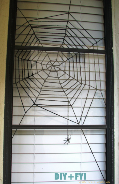 DIY yarn spider web window
