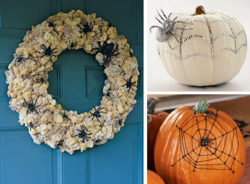 Front Door Halloween Wreath Spiders