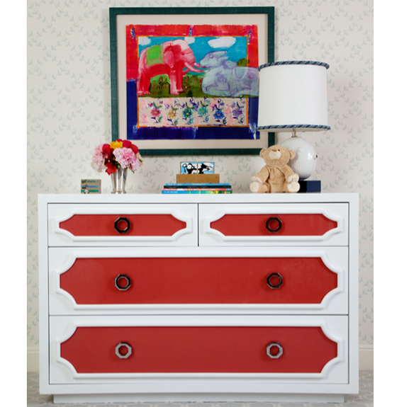 Orange and White Painted Dresser