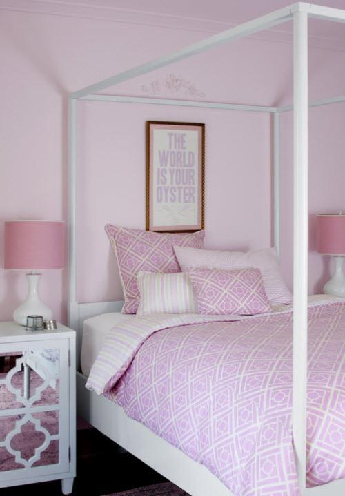 Pink cane trellis bedding for girls